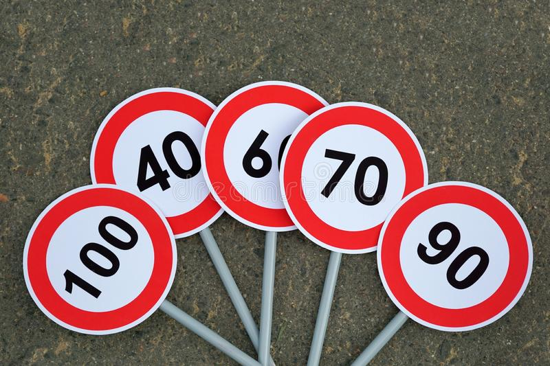 Speed limit road signs. Road safety concept stock photo