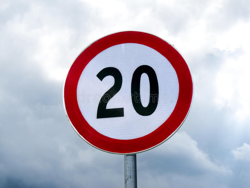 Download Speed Limit Sign 20 Against Cloudy Sky Royalty Free Stock Images - Image: 26648539
