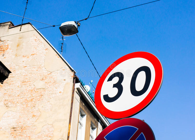 Speed limit. Sign showing the number thirty stock photos