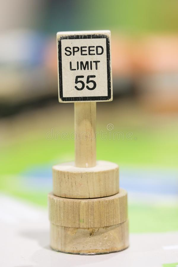 Speed Limit sign Wooden Toy Set - Play set Educational toy. S for preschool indoor playgroundselective focus royalty free stock photography
