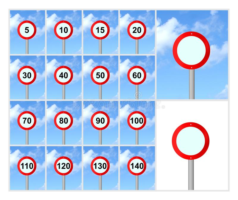 Speed limit signs. Set of speed limit signs on blue sky stock images