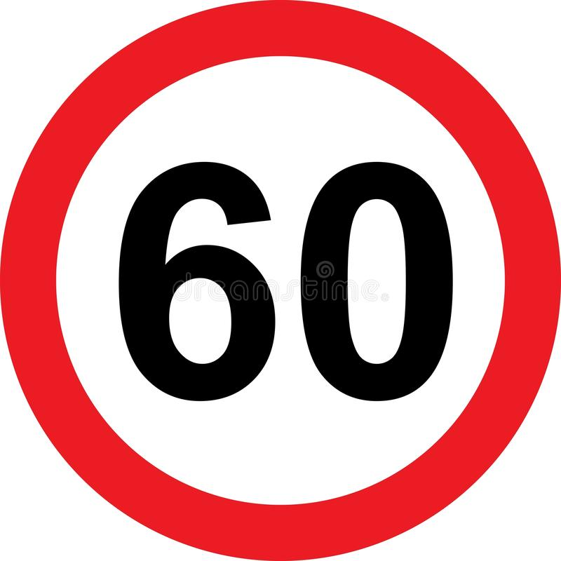 60 speed limitation road sign. On white background vector illustration