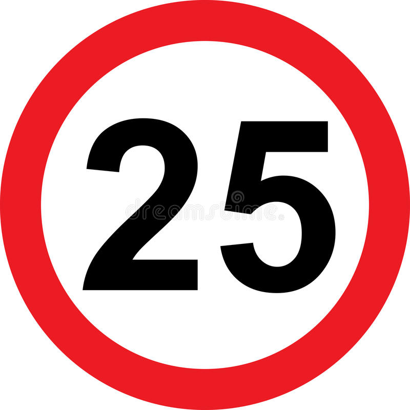 25 speed limitation road sign. On white background vector illustration
