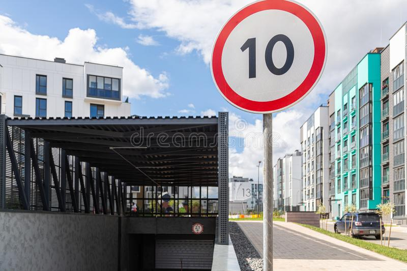 Speed limitation ten km per hour in dormitory district stock images