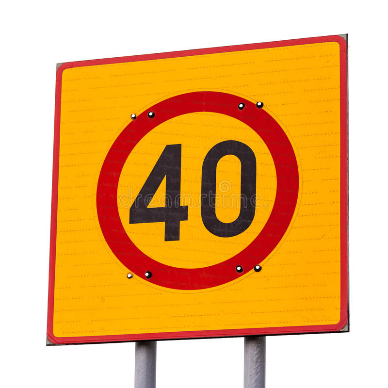 Speed limitroad sign isolated on white stock photo