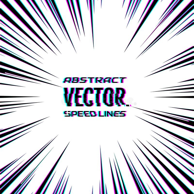 Speed lines with glitch effect on white background. Effect motion lines for comic book and manga. Radial rays from center royalty free illustration