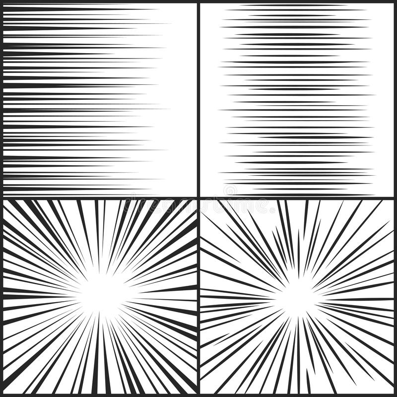 Speed lines, motion strip manga comic horizontal and radial effect vector set royalty free illustration