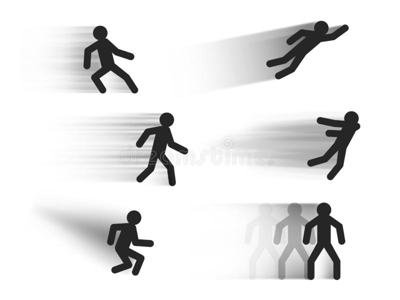 Speed lines vector templates with stick figures in various poses , dark motion blur lines illustrations isolated on white vector illustration