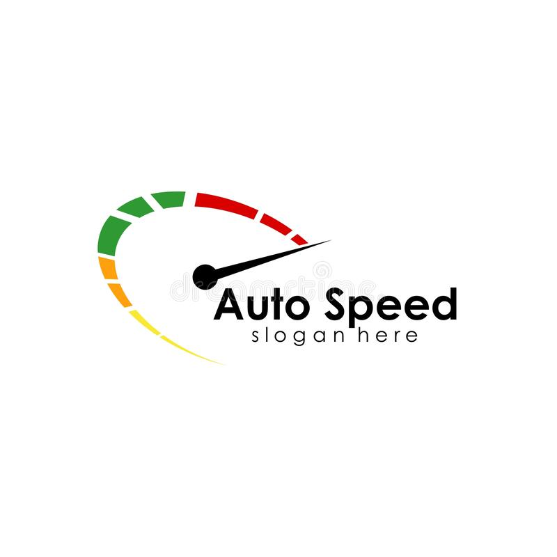Speed logo design, silhouette speedometer symbol icon vector. Car, template, auto, fast, concept, illustration, race, abstract, element, red, racing royalty free illustration