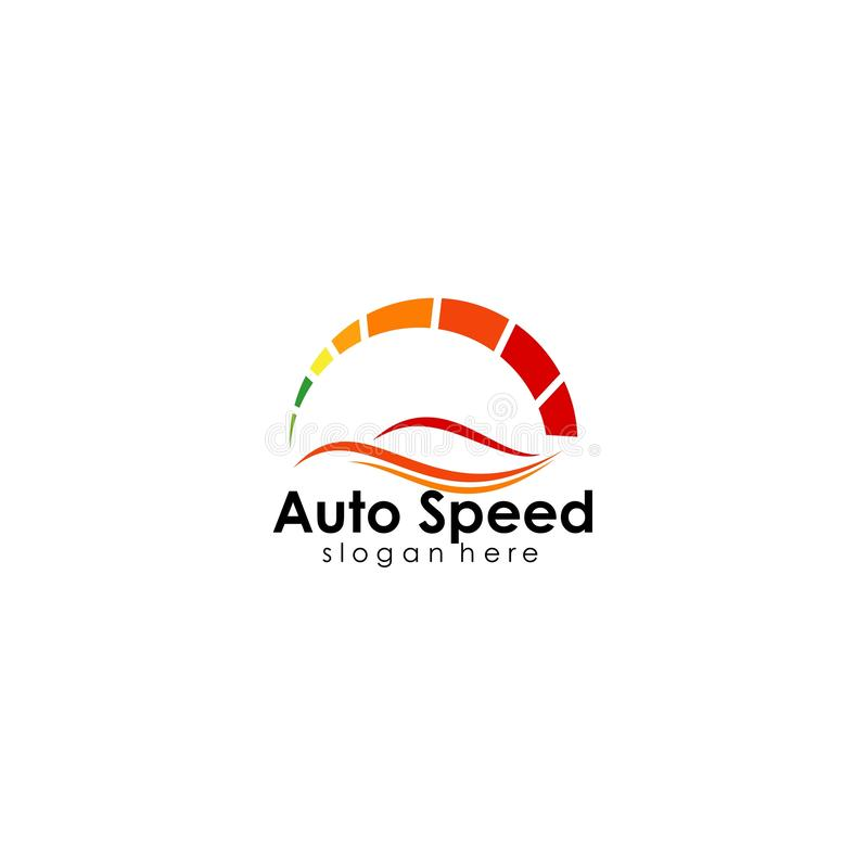 Speed logo design, silhouette speedometer symbol icon vector. Car, template, auto, fast, concept, illustration, race, abstract, element, red, racing stock illustration