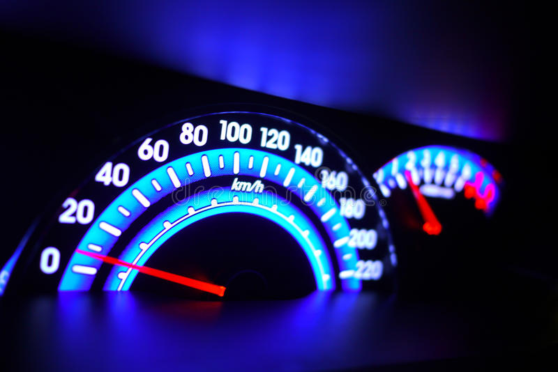 Speed meter. Blue/purple speed meter car interior