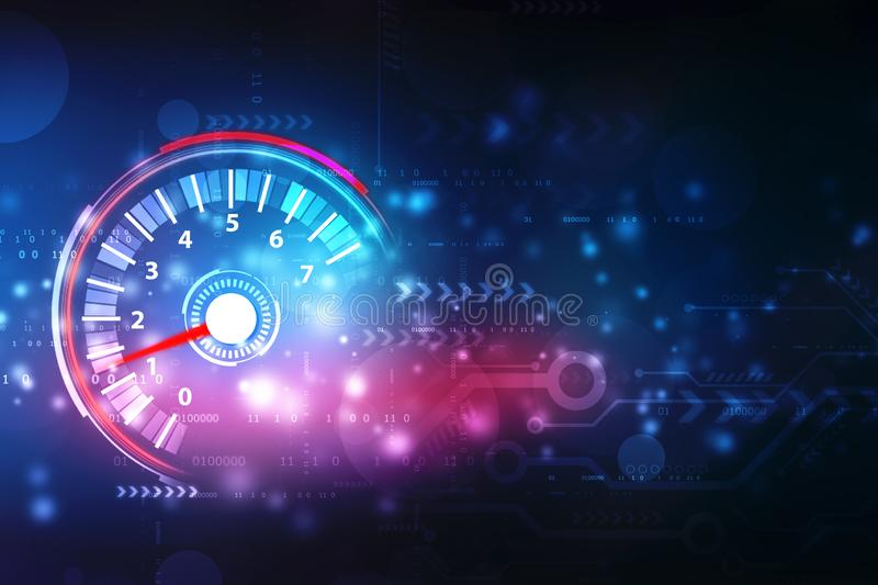 Speed motion background with fast speedometer car, Digital Abstract technology background royalty free stock images