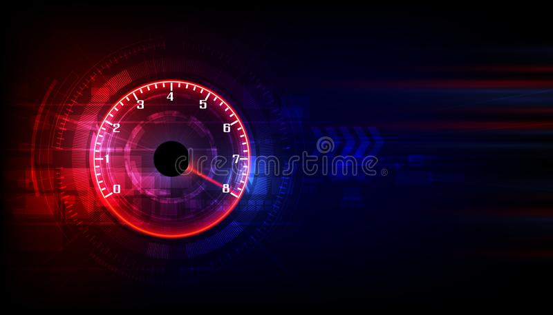 Speed motion background with fast speedometer car. Racing velocity background vector illustration