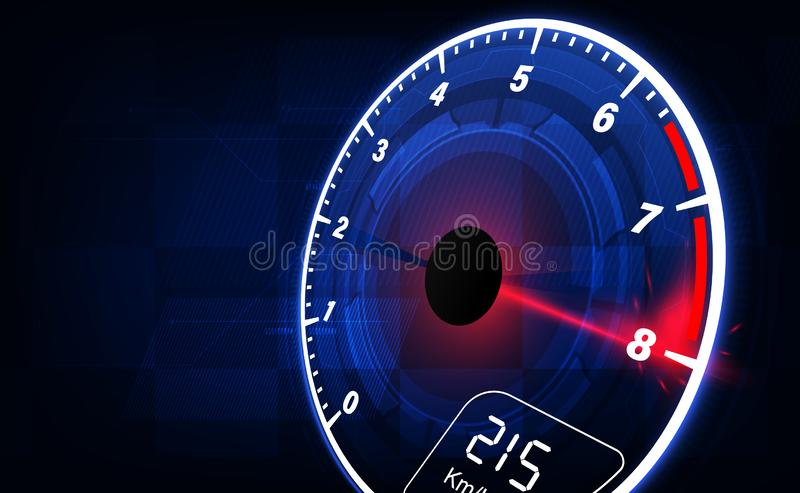 Speed motion background with fast speedometer car. Racing velocity background stock illustration