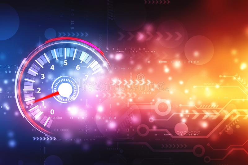 Speed motion background with fast speedometer car, Digital Abstract technology background royalty free stock photography
