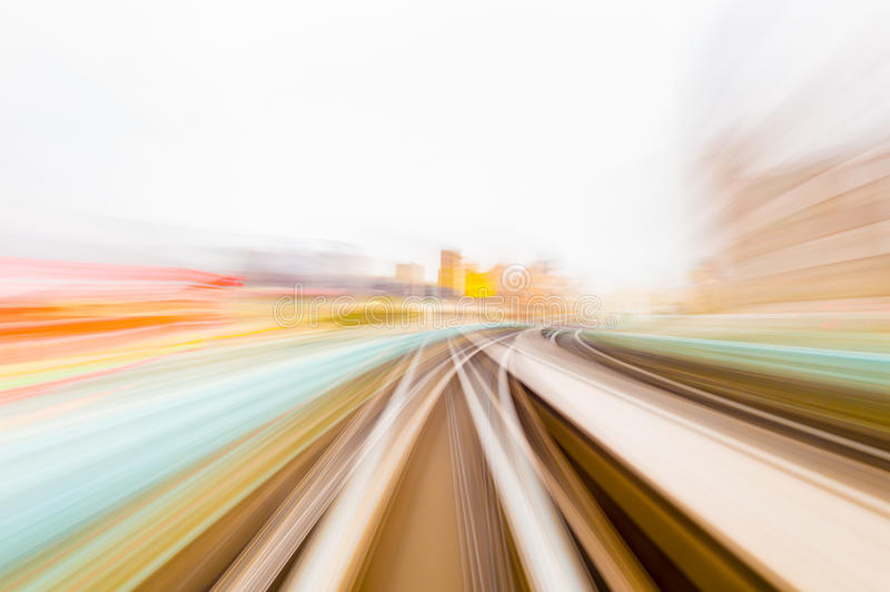 Speed motion in urban highway road tunnel stock image