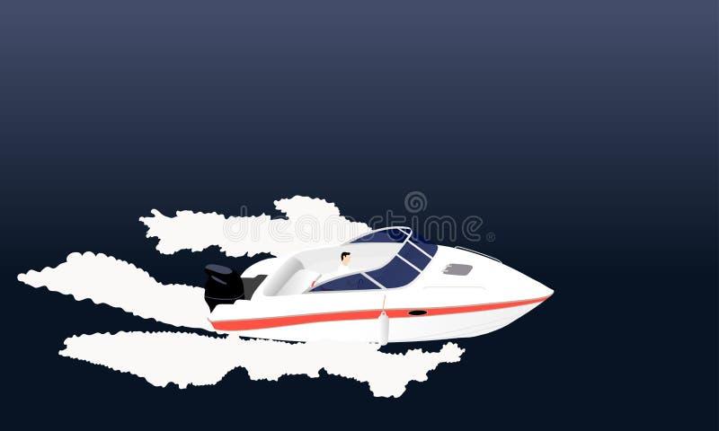 Speed motor boat stock illustration