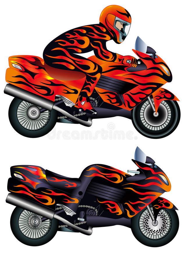 Download Speed Motorcycle With Person Stock Vector - Image: 19317902