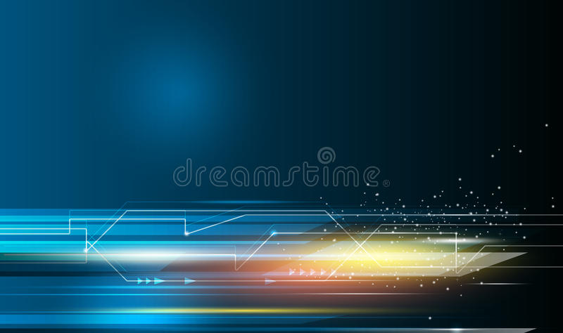 Speed movement pattern and motion blur over dark blue background. Vector Abstract, science, futuristic, energy technology concept. Digital image of arrow sign vector illustration