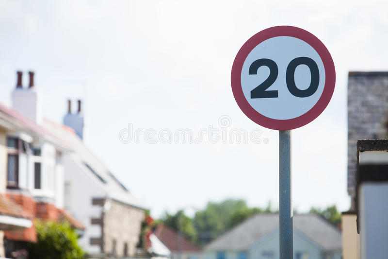 Speed restriction road sign. Color image of a 20km/h speed restriction road sign royalty free stock photography
