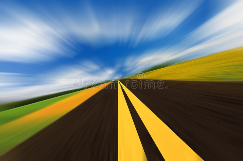Speed road. The high-speed autobahn with blurred motion royalty free stock photo