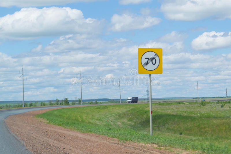 Speed sign 70 higway road royalty free stock photo