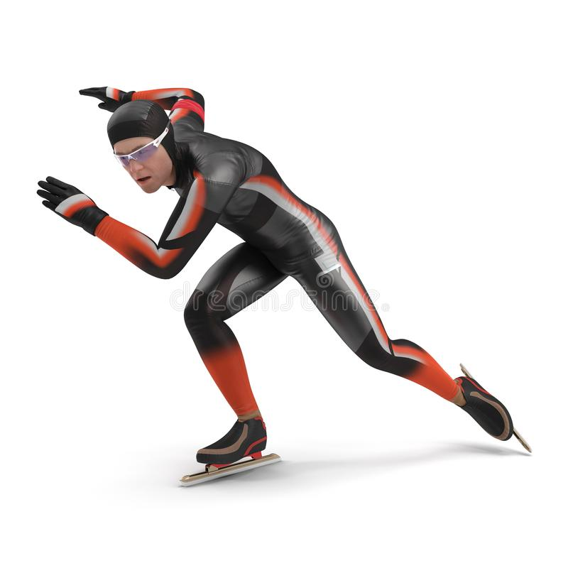 Speed Skater on white. 3D illustration vector illustration