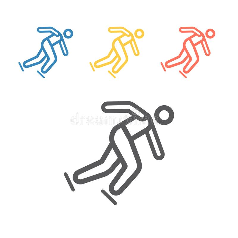 Speed skating line icon. Winter game. Vector signs for web graphics royalty free stock photography