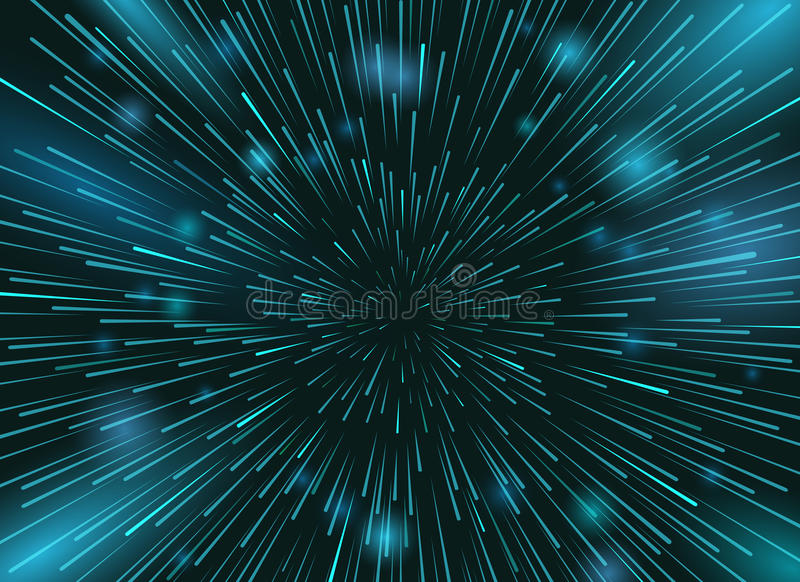 Speed stars in space vector background. Star lights at night sky action wallpaper stock illustration