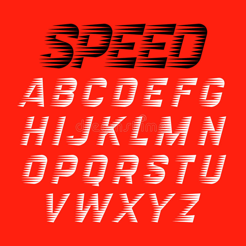Speed style font stock illustration