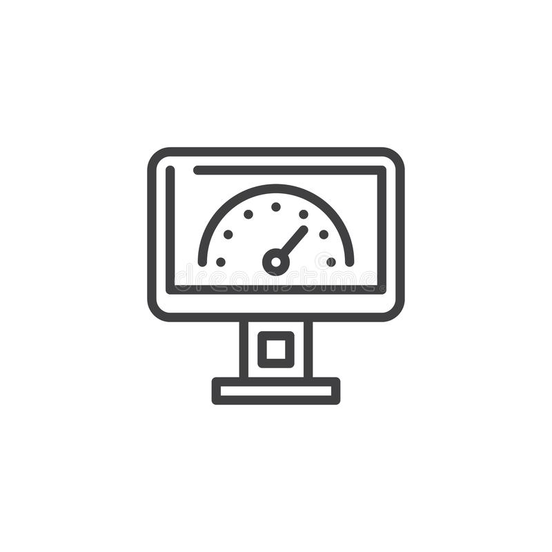 Speed test screen line icon. Linear style sign for mobile concept and web design. Computer monitor with speed test outline vector icon. Gauge symbol, logo stock illustration