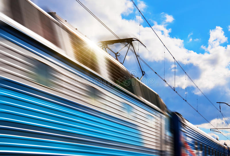 Speed train with motion blur stock photography