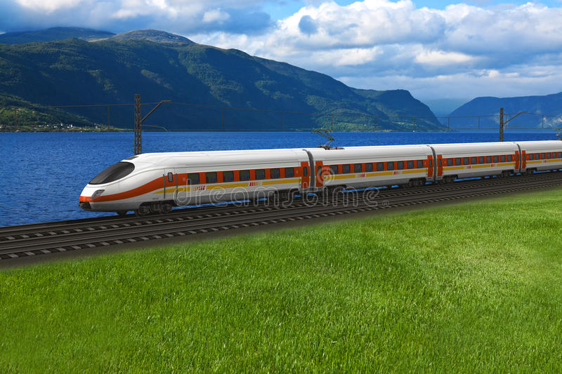Download Speed Train Passing By The Mountains Stock Illustration - Illustration of blurred, mountains: 20501808