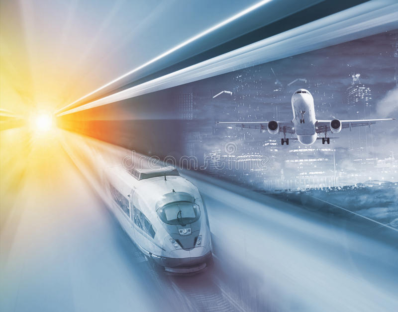 Speed of train and plane traveling. Train and plane traveling with great velocity in modern times royalty free stock photo