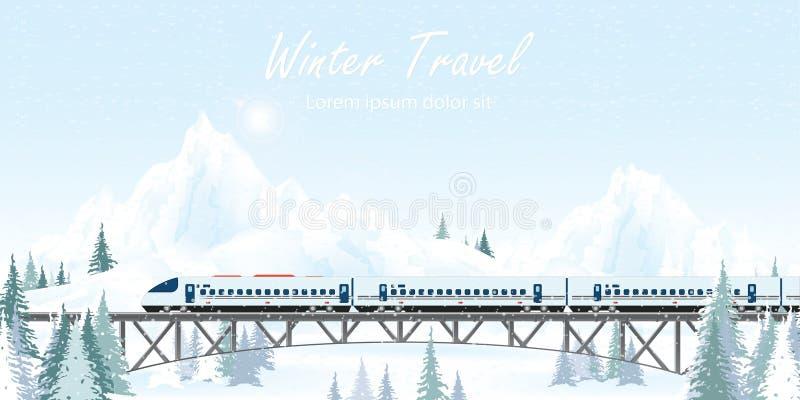 Speed train on railway bridge on winter landscape vector illustration