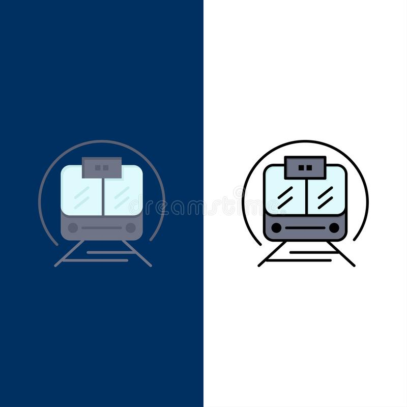 Speed Train, Transport, Train, Public  Icons. Flat and Line Filled Icon Set Vector Blue Background royalty free illustration