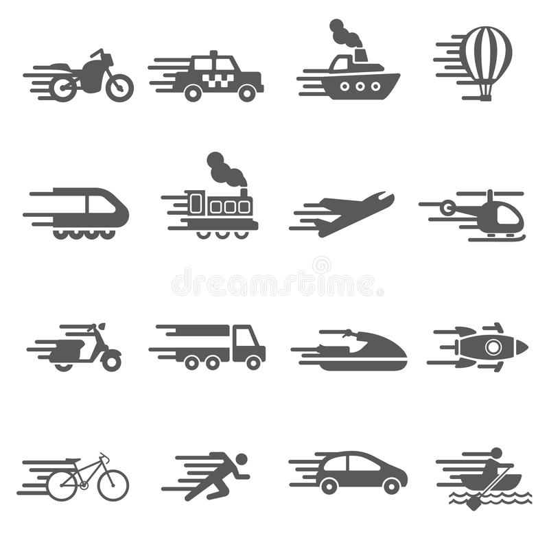 Speed Transport icon set stock image