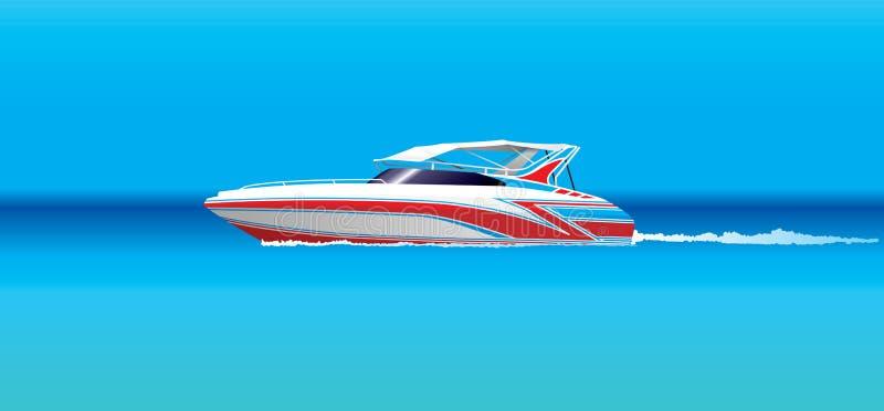 Speedboat. Illustration of a speedboat in the blue sea vector illustration