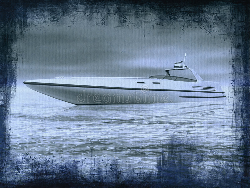 Speedboat. Monochromatic grungy picture of a speedboat vector illustration
