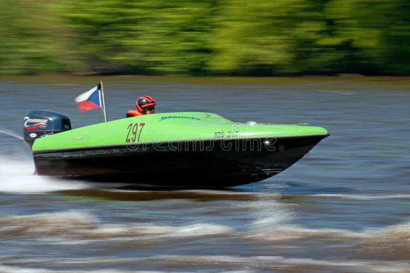 Speedboat in Action stock images