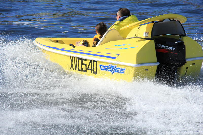 Speedboat action stock images