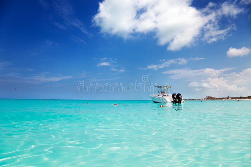 Download Speedboat Anchored In Grace Bay Stock Photo - Image of tropical, motorboat: 19477484