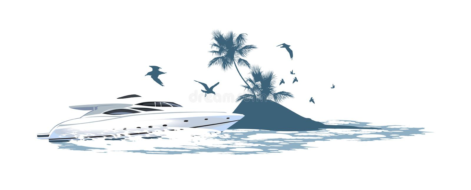 Speedboat on the background of of the island. Speedboat crashing waves rushing on the background of of the island royalty free illustration