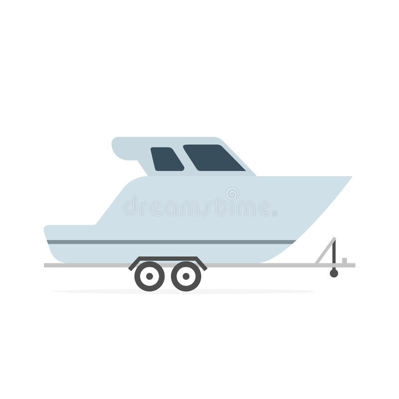 Speedboat on car trailer icon. Clipart image isolated on white background vector illustration