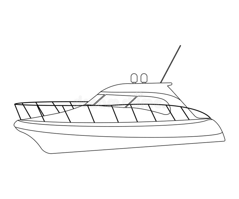 Speedboat flat icon and sign. Outline Vector Illustration.  vector illustration