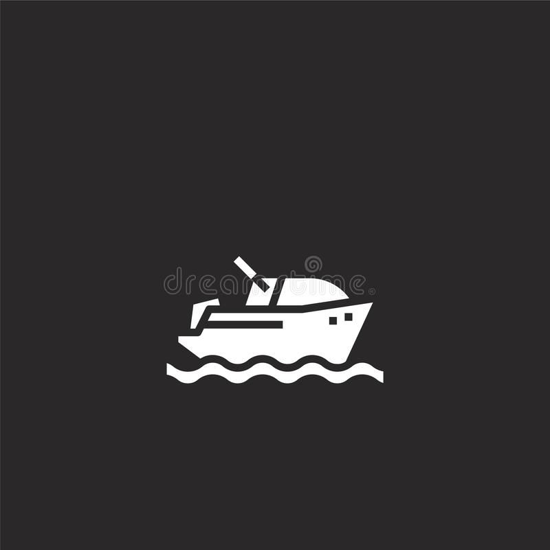 Speedboat icon. Filled Speedboat icon for website design and mobile, app development. Speedboat icon from filled summer collection. Isolated on black background royalty free illustration