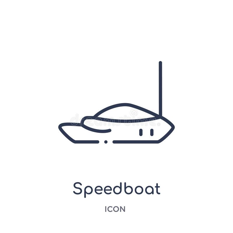 Speedboat icon from nautical outline collection. Thin line speedboat icon isolated on white background. Icon vector illustration