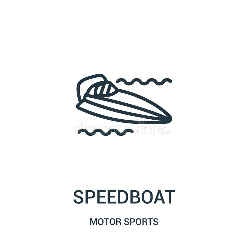 Speedboat icon vector from motor sports collection. Thin line speedboat outline icon vector illustration. Linear symbol. For use on web and mobile apps, logo vector illustration