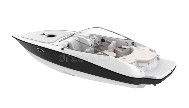 Speedboat Isolated. On white background. 3D render royalty free illustration