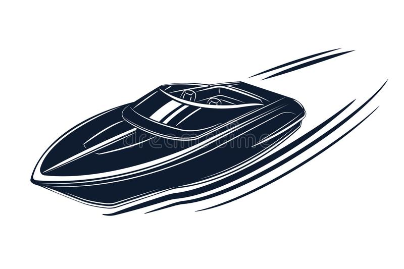 Speedboat isolated vector illustration. Luxury and expensive boat. Fast tourist vessel royalty free illustration